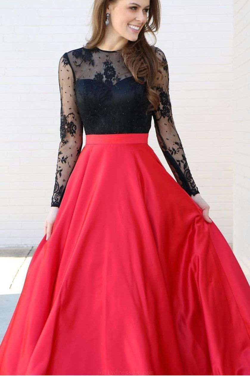 Customized soft long sleeves prom dresses prom dresses red