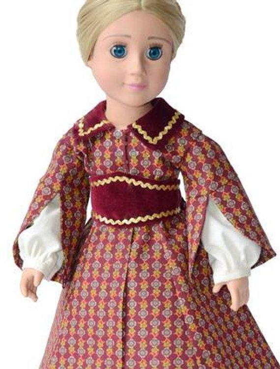 1850s Promenade Dress with Pagoda Sleeve Doll Clothes
