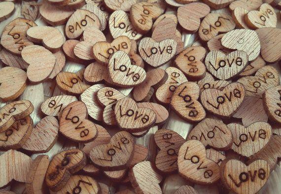 50 x Rustic Wooden Love Heart Wedding Table by AATDWeddings