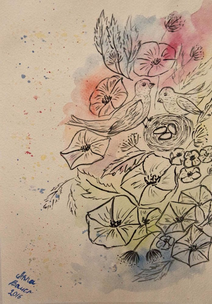 Grafik / Aquarell Original Unikat 21*29,7cm neu signiert datiert
