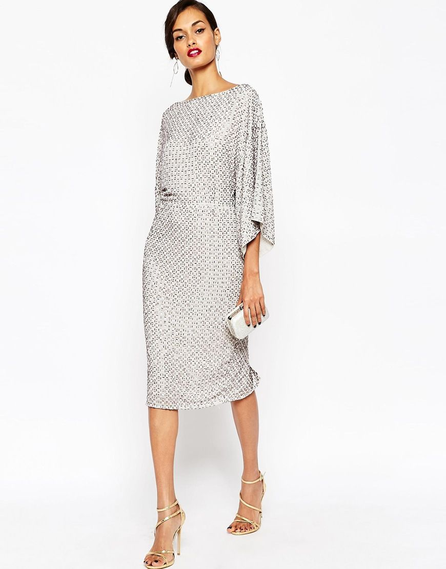Side view of ASOS TALL RED CARPET Sequin Grid Kimono Midi Dress (Evening  dress by ASOS Collection Smooth woven fabric All-over sequin embellishment  Boat ...