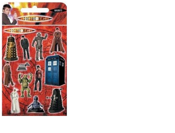Doctor Who Magnets Large RRP £1.99 available for just £0.25. Cover your fridge with the latest Doctor Who Fridge Magnets The Magnets featured are: Tardis Slitheen Daleks Martha The Doctor Moxx of Balhoon Novice Hame Cyberman K9 The magnets are between 2cm and 11cm tall. Please email chrisd@brennanatkinson.co.uk for more details.