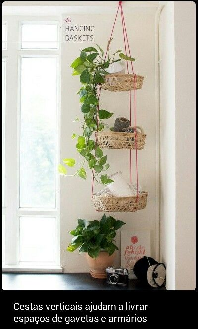 51 Game-Changing Storage Solutions That Will Expand Your Horizons Vertical hanging baskets gets your crap off the floor without taking up any valuable shelf ...  sc 1 st  Pinterest & Pin by Walker on Plant hangers | Pinterest | Plants Plant hangers ...