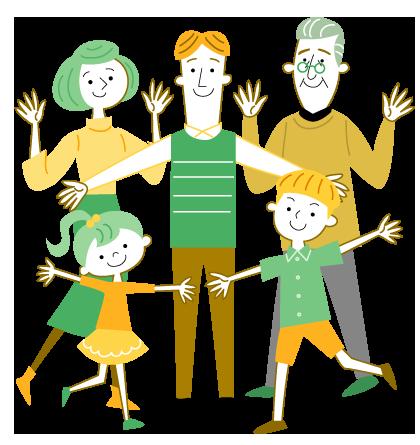 おじいちゃん お父さん お母さん 子供たちのかわいい線画イラスト