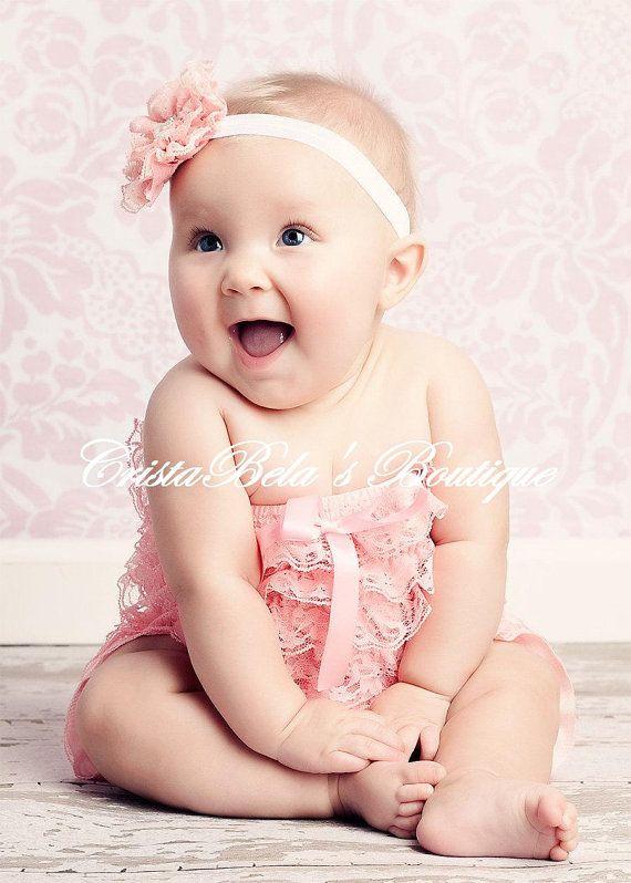 newborn photography prop Aria cotton lace headband ~ newborn size baby headband.
