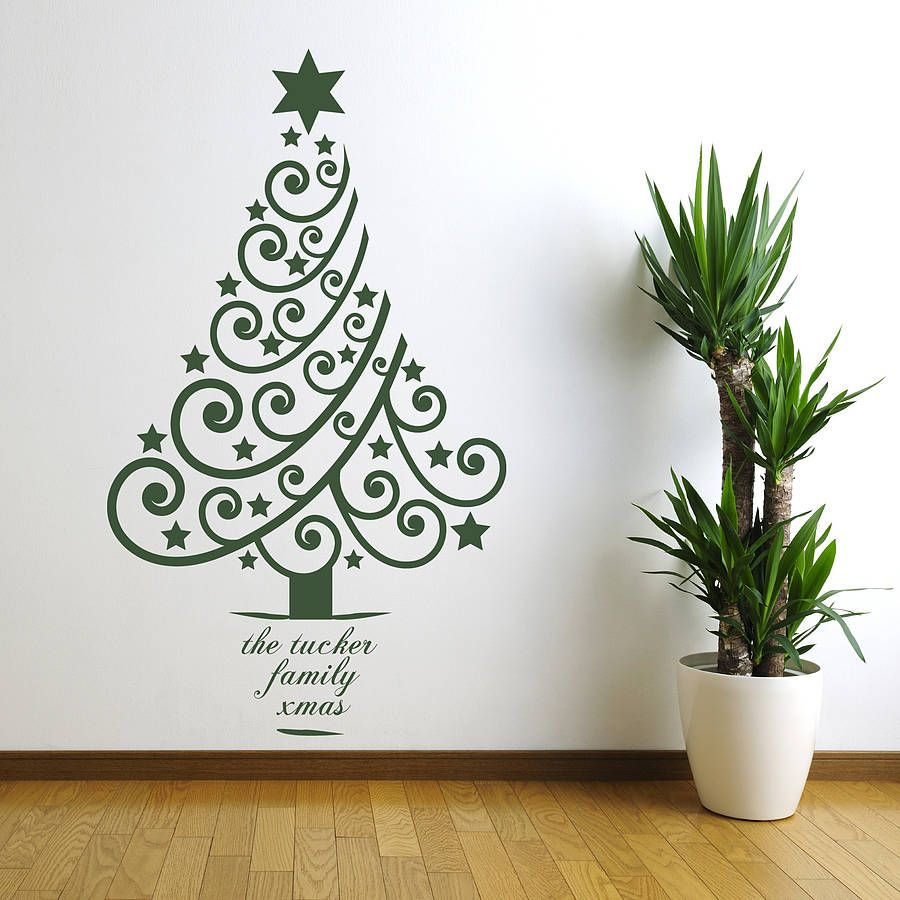 Superieur Personalised Xmas Tree Wall Sticker