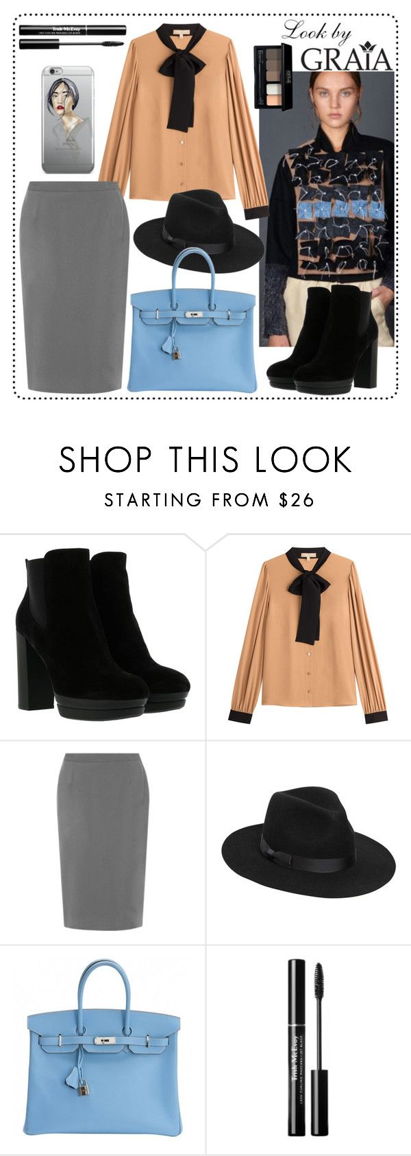 """""""Jacket with removable panel"""" by graiastyle ❤ liked on Polyvore featuring Hogan, Michael Kors, WearAll, Lack of Color, Hermès, MAKE UP FOR EVER, jacket, graiaclothes and GRAIA"""
