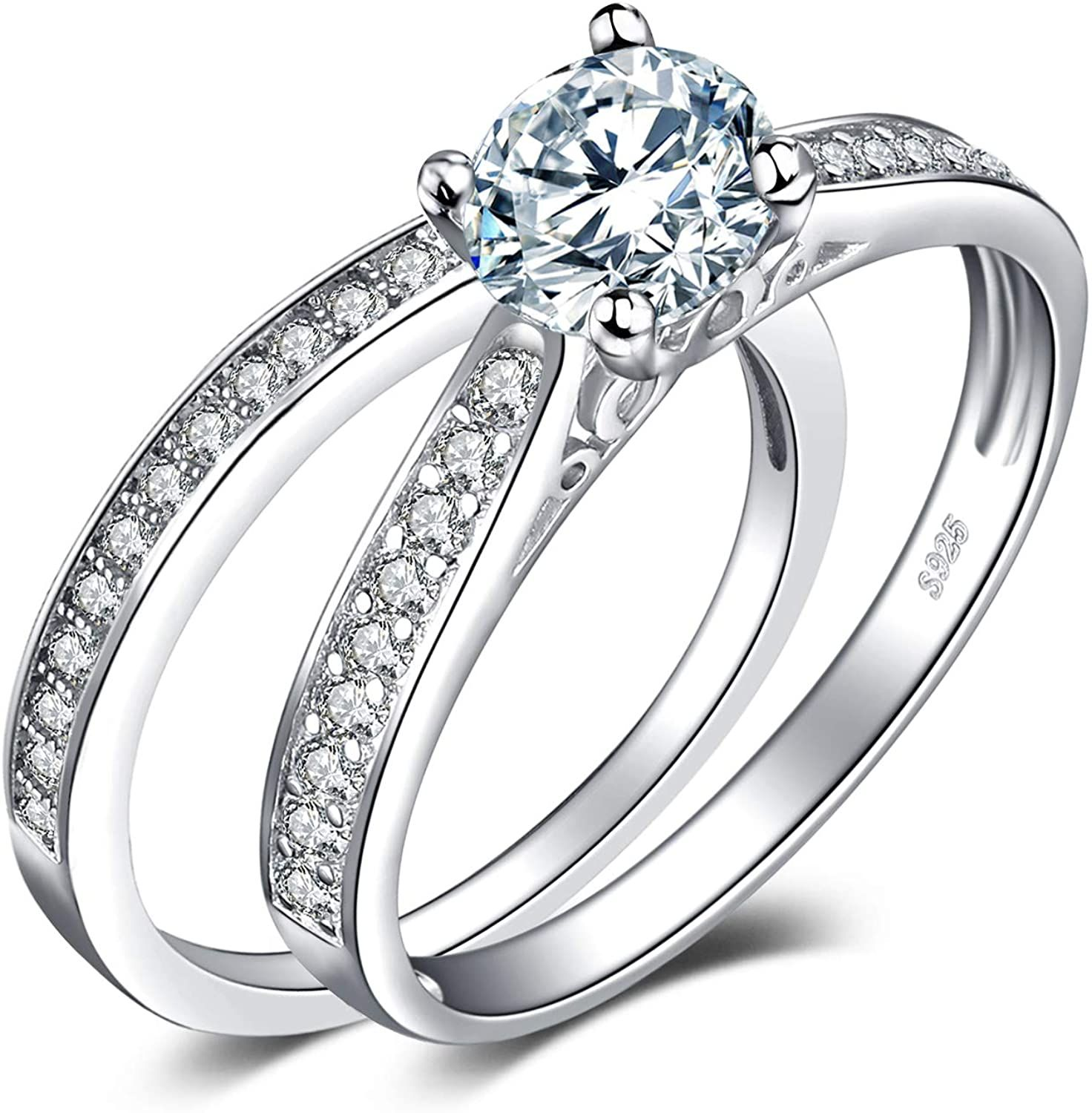 Diamond Wedding Band With Solitaire Engagement Ring In 2020 Round Diamond Engagement Rings Solitaire Engagement Ring Antique Wedding Rings