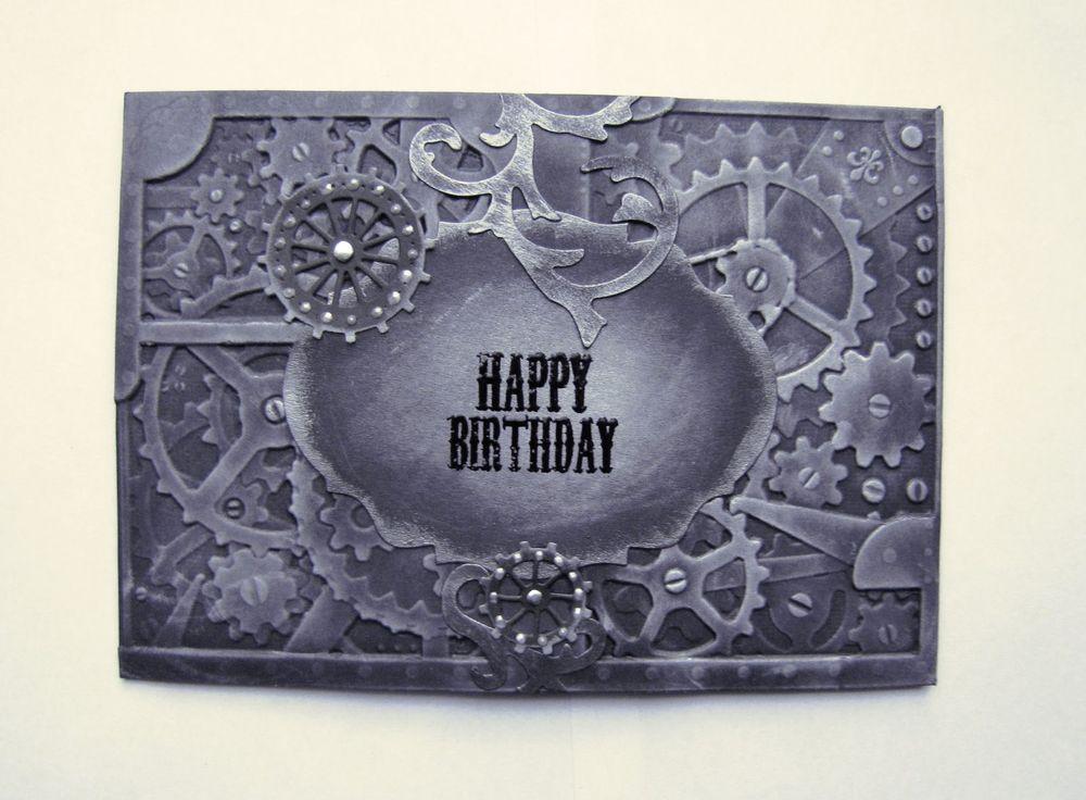 Steampunk Gothic Cog Male Birthday Card Handmade Black Grey Silver Embossed Steampunk Cards Handmade Birthday Cards Birthday Cards For Men