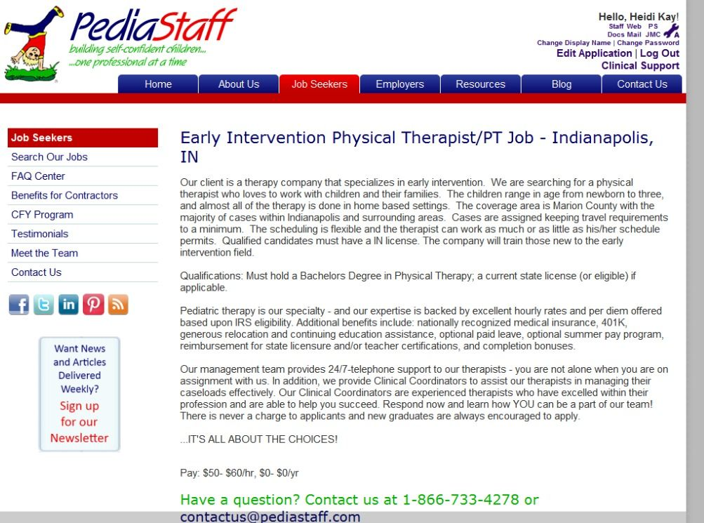 Early Intervention Physical Therapist/PT Job - Indianapolis, IN Our - physical therapist job description