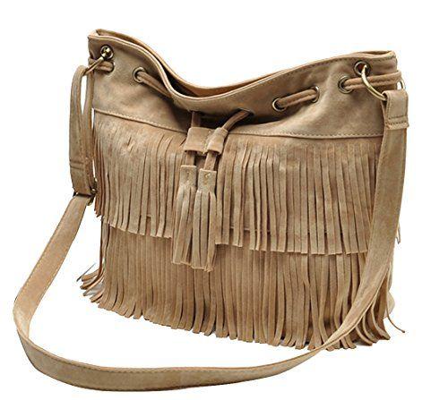 Tina Womens Vintage Fringe Tassels Drawstring Crossbody Bucket Bag Shoulder Bags Beige * You can find more details by visiting the image link.