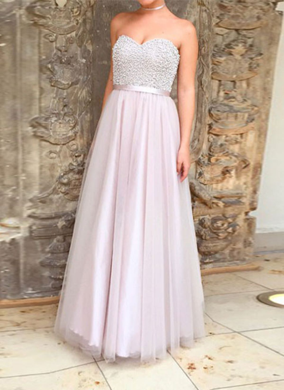 f3c0a2ff1b9 Beaded pink tulle prom dress