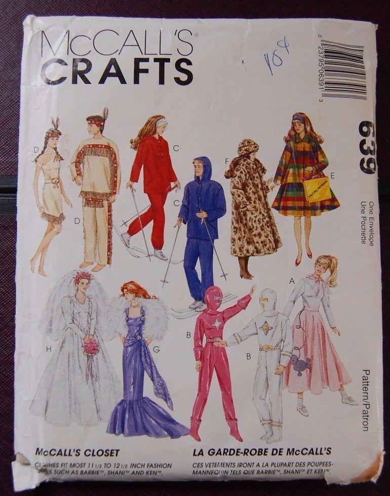 McCall 7932 639 Pattern Fashion Doll FF Bride Poodle Skirt Barbie 115 Inch