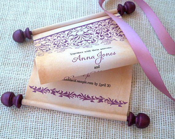 Fairy tale Wedding Invitations Fabric Scroll with Damask Eggplant