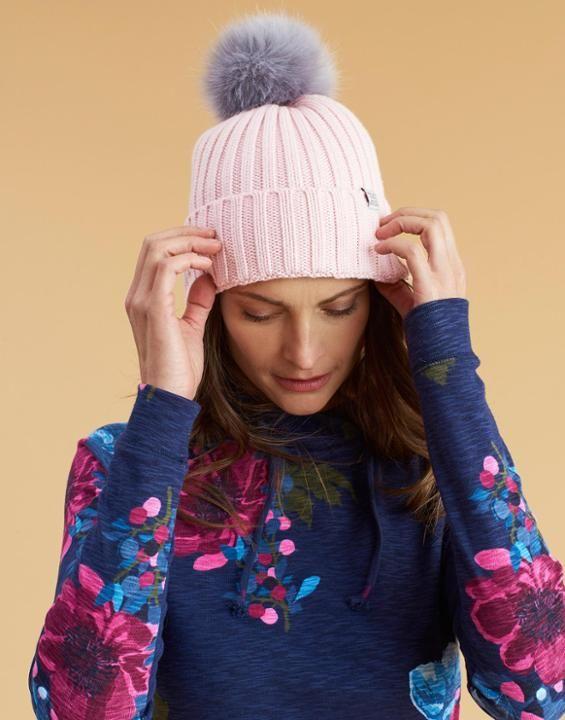 Joules Womens Cable Knit Warm Winter Faux Fur Bobble Hat