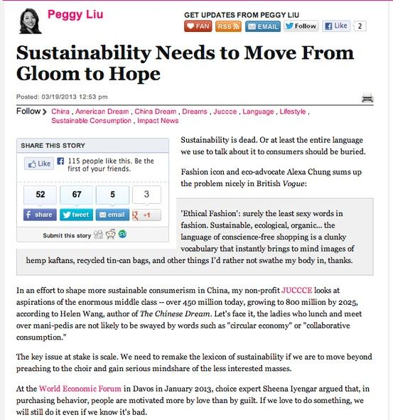 Sustainability Needs to Move From Gloom to Hope Them, Posts and We