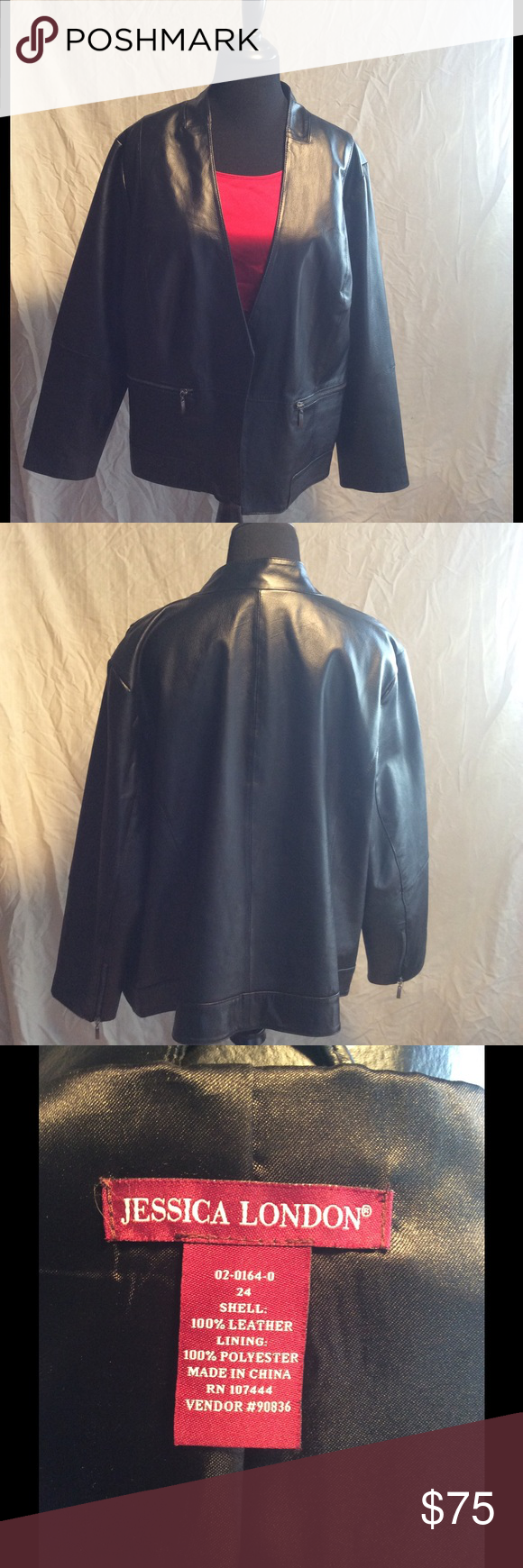 Black genuine leather jacket Jessica London size 24 black leather jacket. Open front. Nice details. Fully lined. Worn once. Looks great with a dressy outfit as well as jeans. Jessica London Jackets & Coats