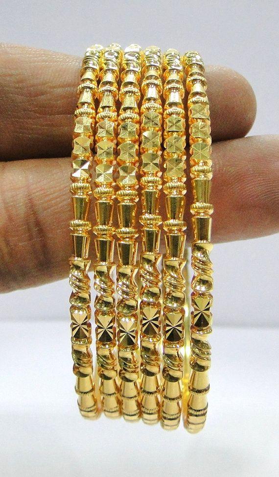 Fabulous! solid 22K Gold handamde Bracelet Bangle set of six pieces