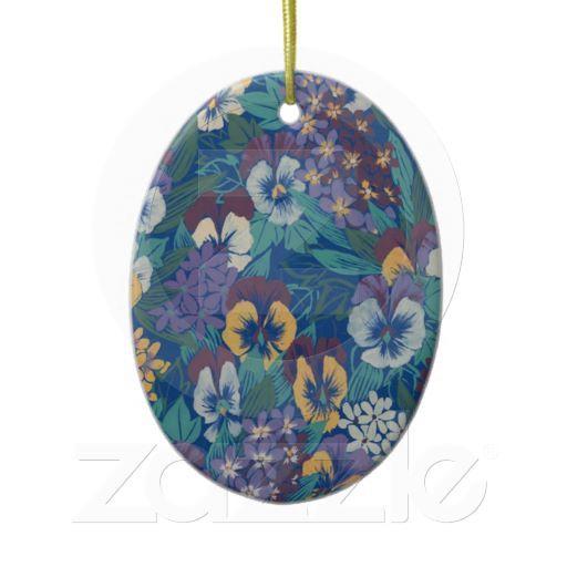 Art Nouveau Pansies Ornament