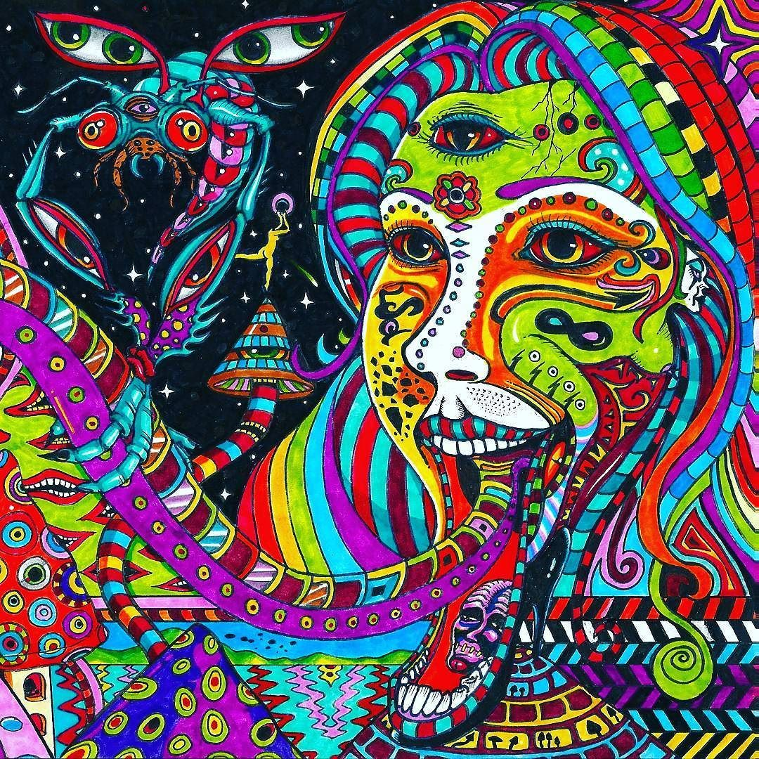Psychedelic art trippy beautiful stonerculture acid lsd dmt forest music guitar - Trippy acid pics ...