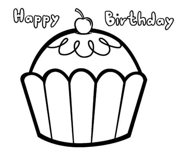 Happy Birthday Cupcakes Coloring Pages Netart