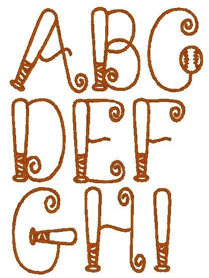 Baseball Bat Alphabet Fonts Embroidery Machine Designs Instant Download Embroidery Monogram Bubble Letter Fonts Baseball Quilt