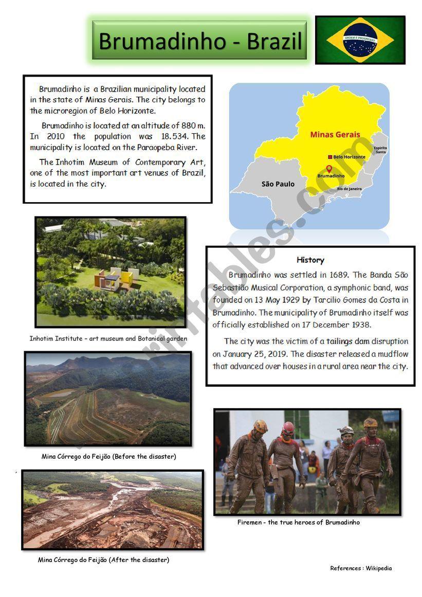 Brumadinho Brazil Esl Worksheet By Hcsjmlpa Em 2020 Com Imagens Brumadinho