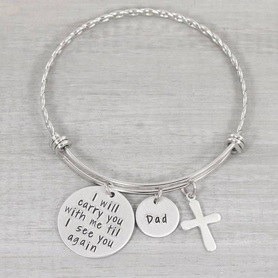 Hand Stamped Personalized Bangle Bracelet Customized Jewelry This To Remember A Loved One