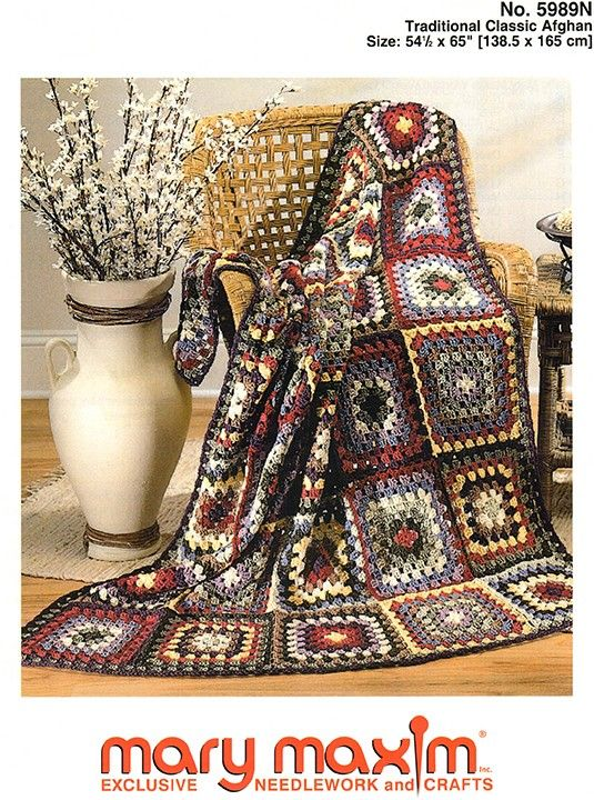 Use Mary Maxim Worsted Weight yarn to knit this classic afghan ...