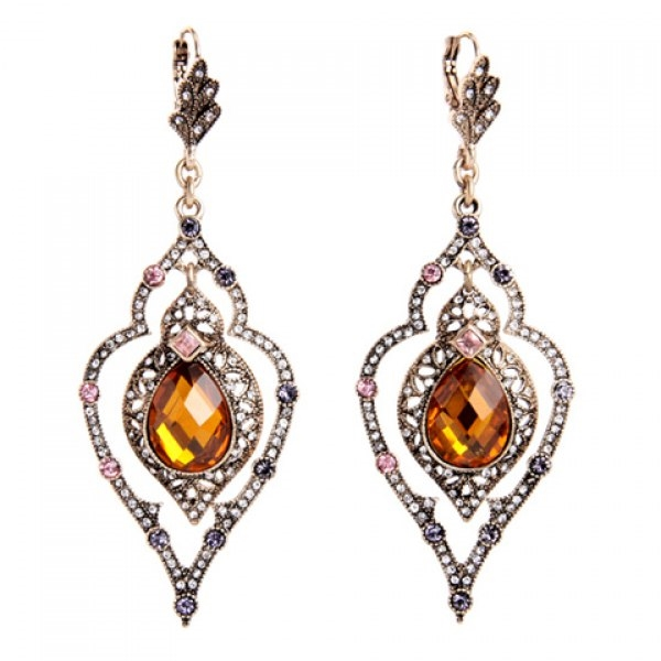 4.1$  Buy here - http://di5ts.justgood.pw/go.php?t=178127901 - Pair of Faux Gem Rhinestone Water Drop Leaf Earrings