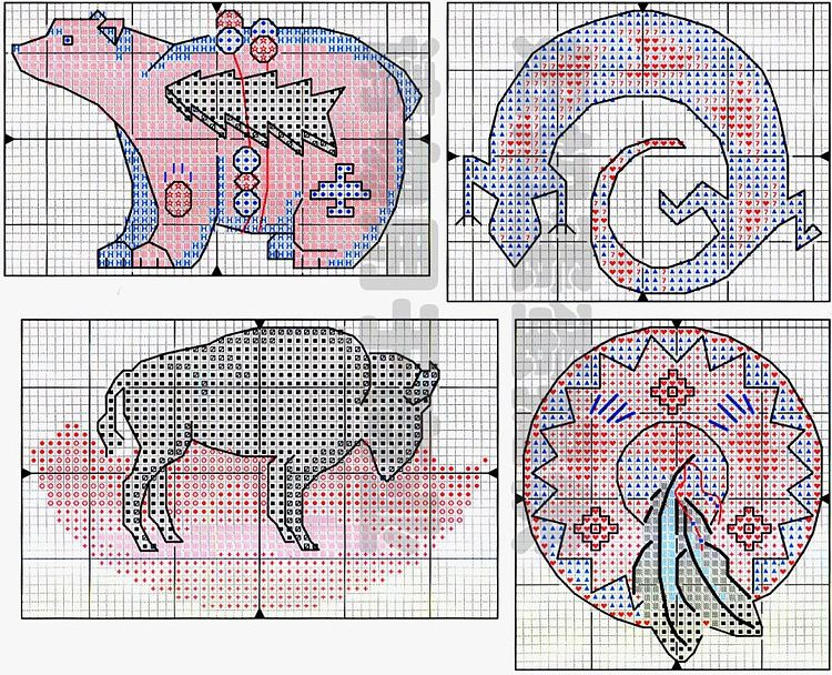 Free Cross Stitch Pattern Native Spirit 4 Bear Bison Lizard