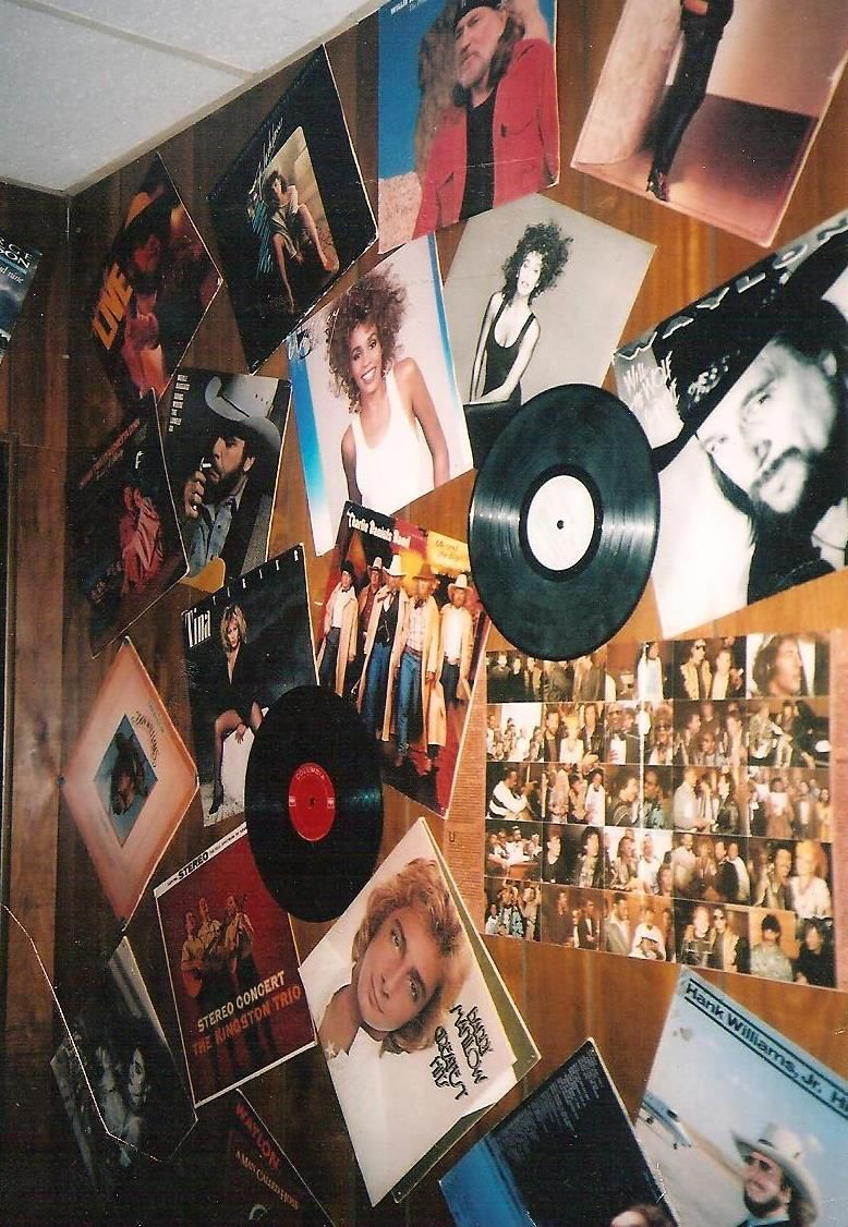 Old Records And Album Covers Line The Wall Like Wallpaper Wall Treatments Kitchen Decor Modern Album Covers
