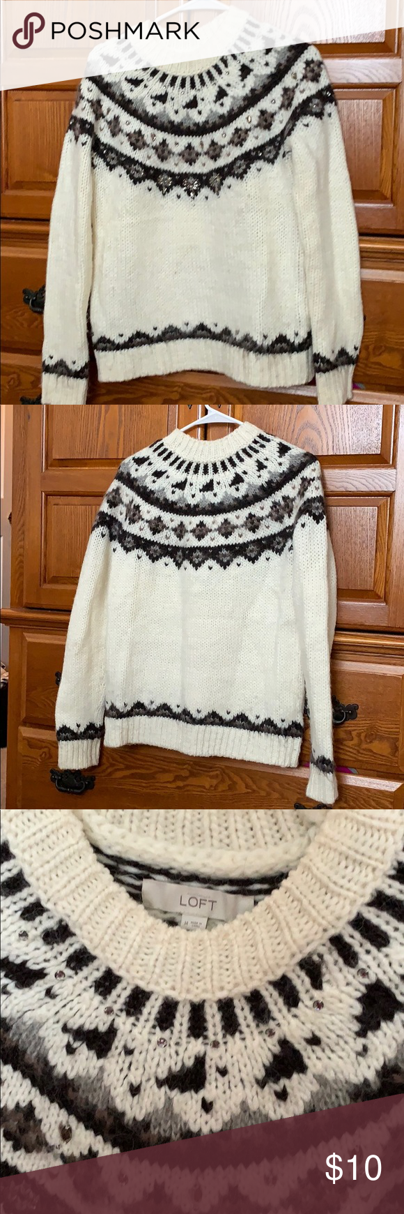 Loft beaded sweater Ann Taylor Loft cream beaded sweater with dark brown and black stripping. Some wear from use and wash, but no rips, holes, or tears. Would be super cute with some skinny jeans and ankle boots! LOFT Sweaters Crew & Scoop Necks #skinnyjeansandankleboots Loft beaded sweater Ann Taylor Loft cream beaded sweater with dark brown and black stripping. Some wear from use and wash, but no rips, holes, or tears. Would be super cute with some skinny jeans and ankle boots! LOFT Sweaters C #skinnyjeansandankleboots