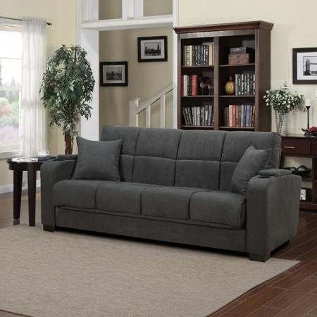 Tyler Microfiber Storage Arm Convert A Couch Sofa Sleepr Bed Gray
