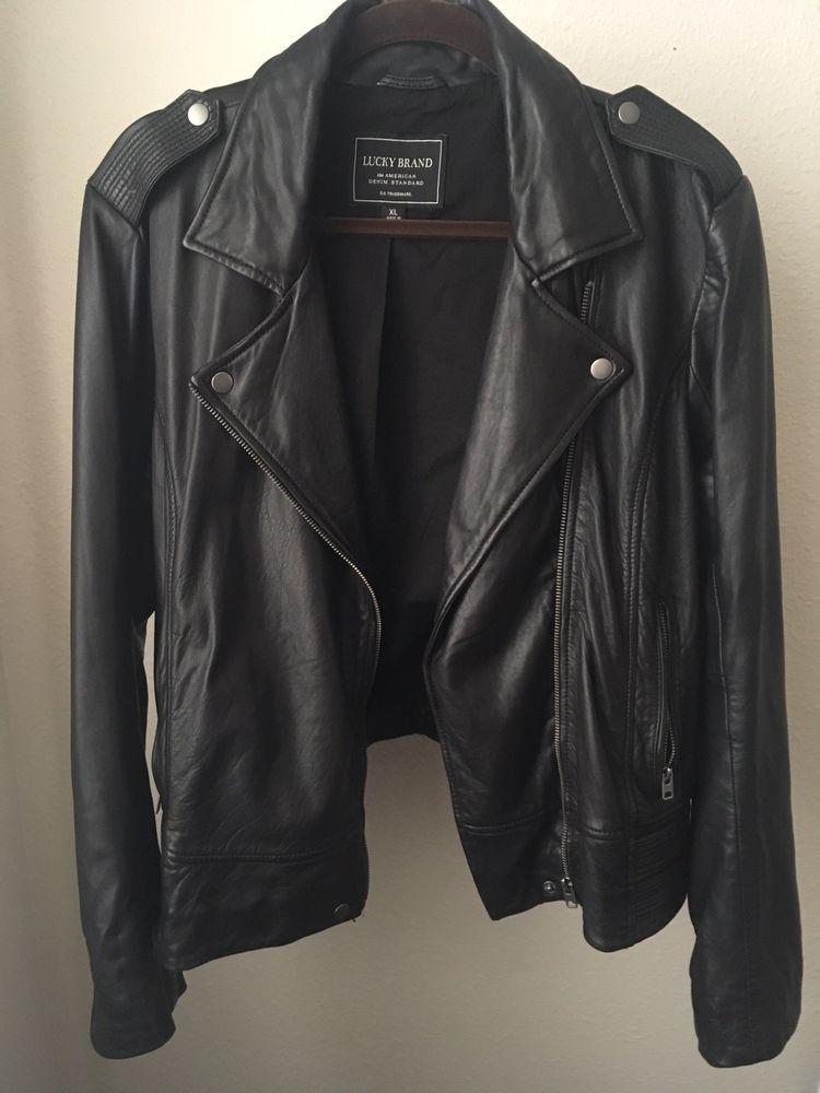 Lucky Brand Women S Xl Black Genuine Leather Moto Jacket Ebay