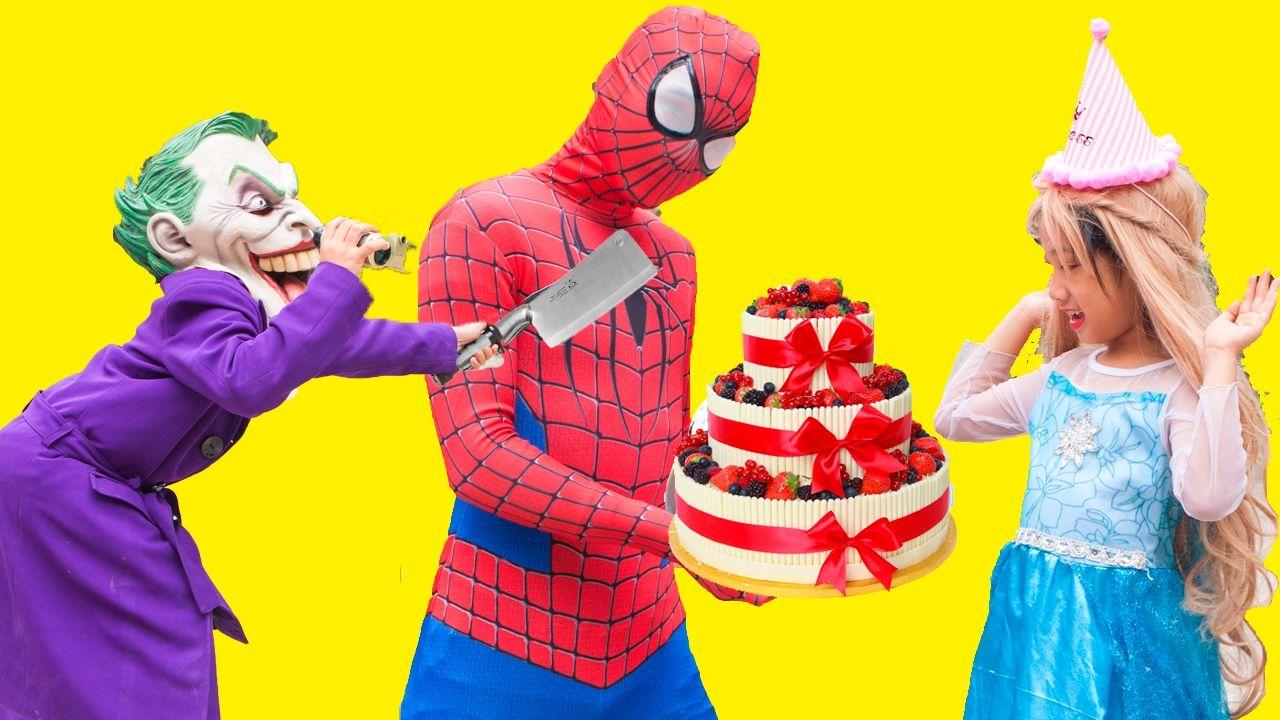 Spiderman make cake for Elsa Joker thief Donald duck is