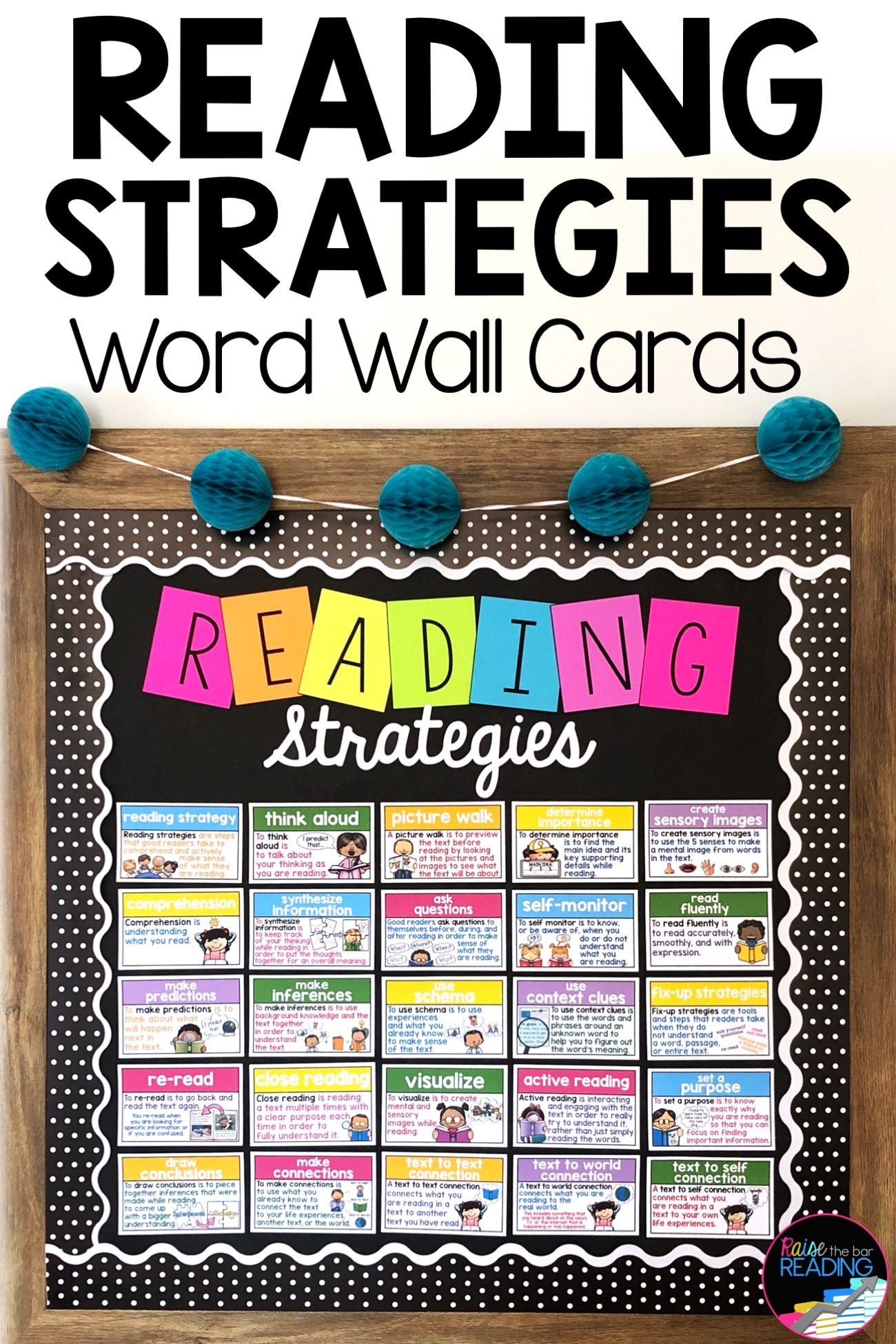 Reading Strategies Word Wall Cards In
