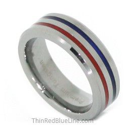 Thin Red Blue Line Tungsten Carbide Ring Red and Blue 6MM Flat