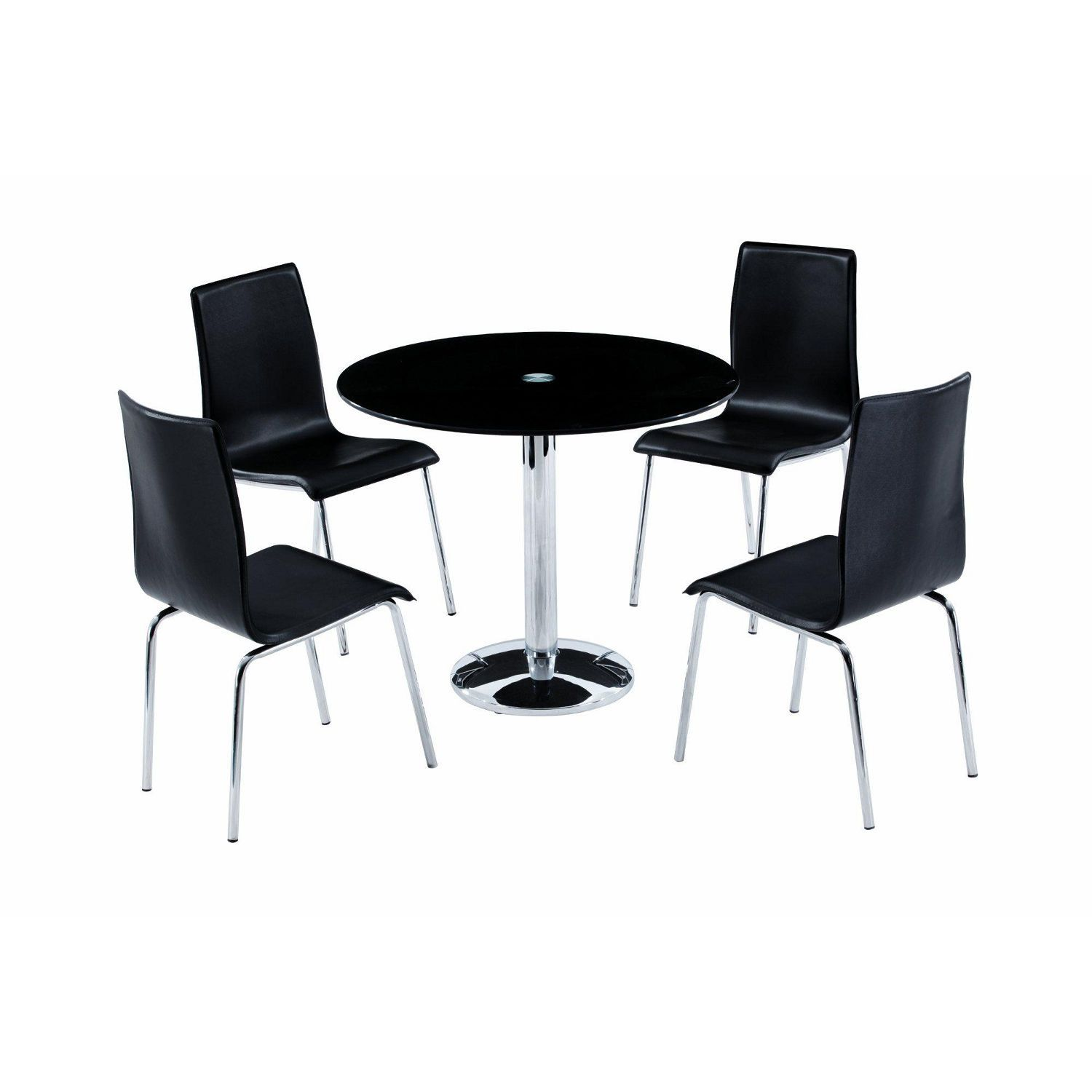 Round Black Glass Dining Table With Single Legs And Four Plastic Chairs