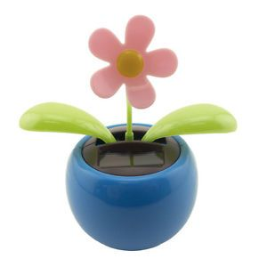 Solar Powered Dancing Daisy Flip Flap Toy Flower Pot Plant Bobble Swing Blue New Dancing Daisy Flower Pots Plants