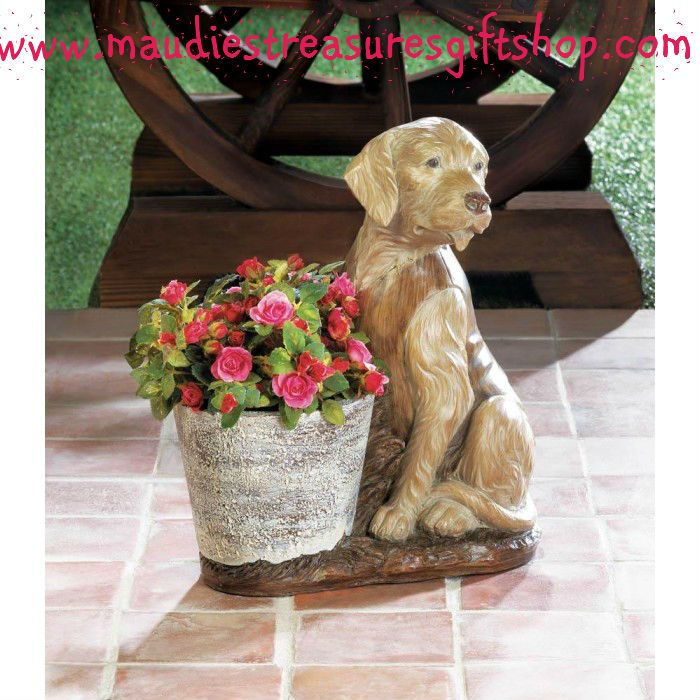Vested Retriever Dog Flower Pot #garden #home #planter $34.99  Sale Now use eastersale15 Sale Ends 4 x 17 x 2017 #gift #flowers #poly resin #new