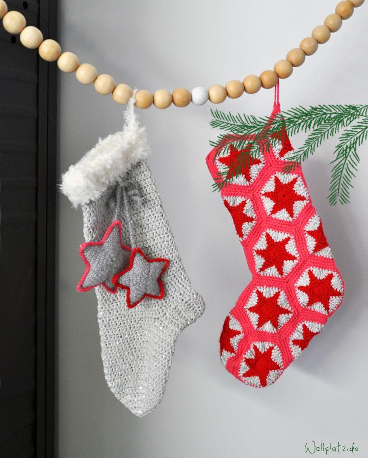 Weihnachtsstiefel häkeln | Weihnachtsstiefel, Wollplatz und Anleitungen