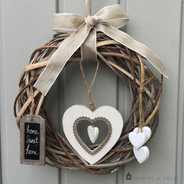 "Photo of small + door wreath + ""HOME + SWEET + HOME"" + from + Crafts + & + Deco + on + DaWanda.com"