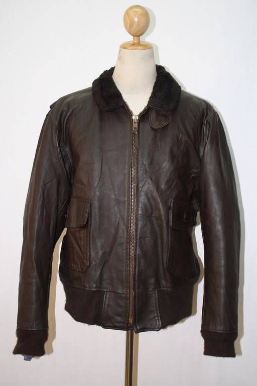 9478a3be8 Vtg STARTOWN Brown G-1 Flight Pilot Leather Jacket Motorcycle 44 ...