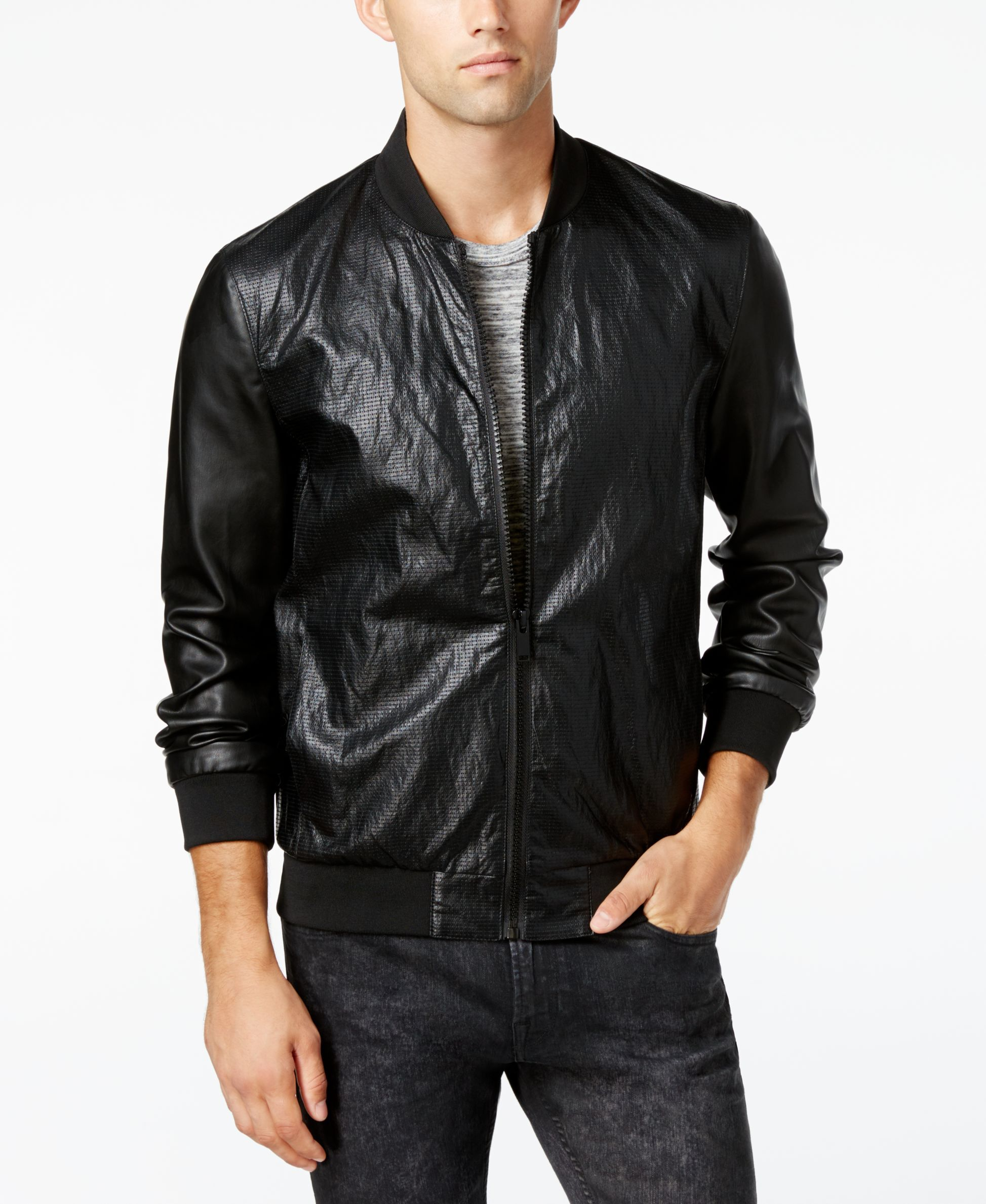 50ceb6397 Guess Men's Perforated Faux-Leather Bomber Jacket | Style n shit ...
