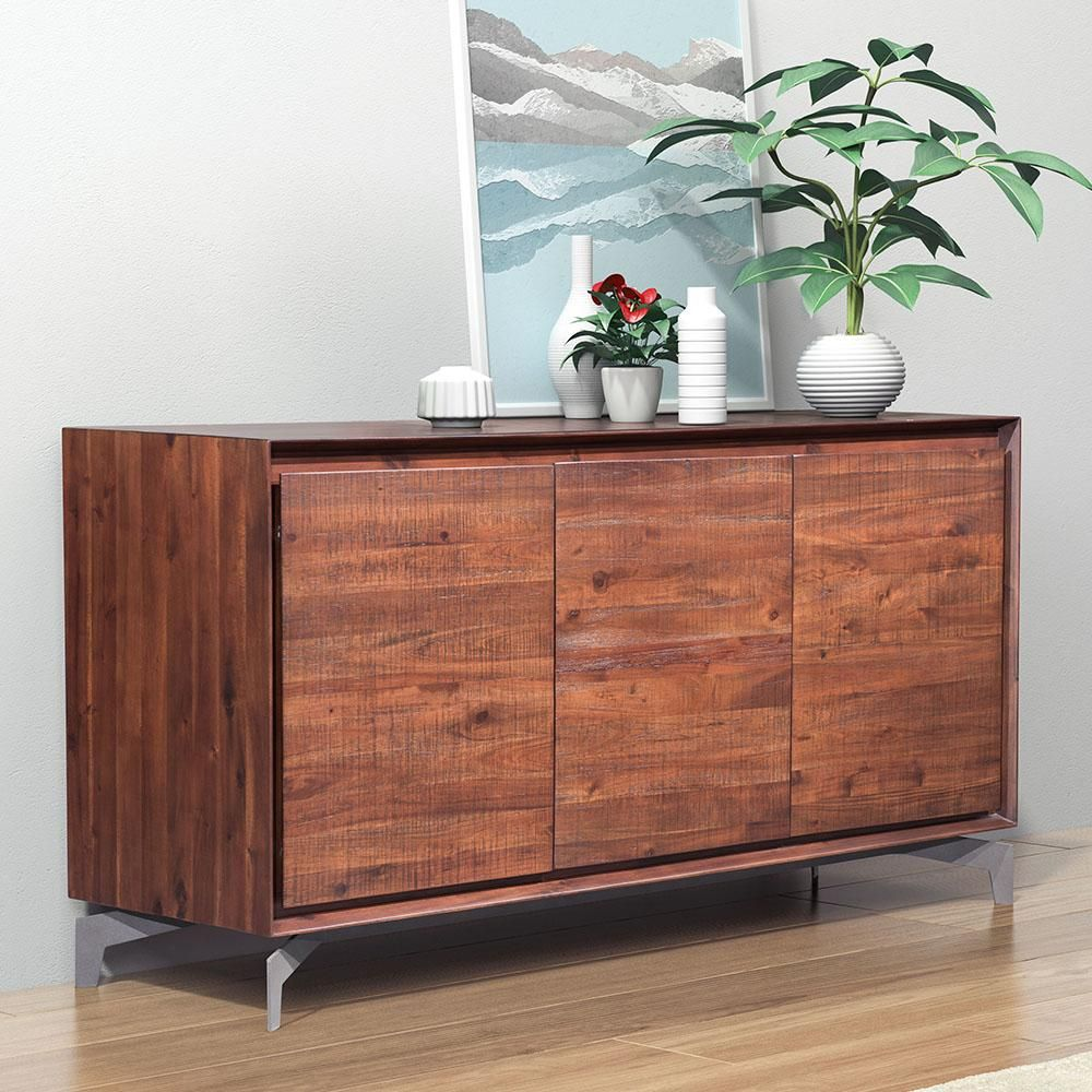 The Perth Buffet Creates A Bold Statement Featuring 3 Doors Within Long Rectangular For Added Storage To Living Or Dining Rooms In Rich Chestnut