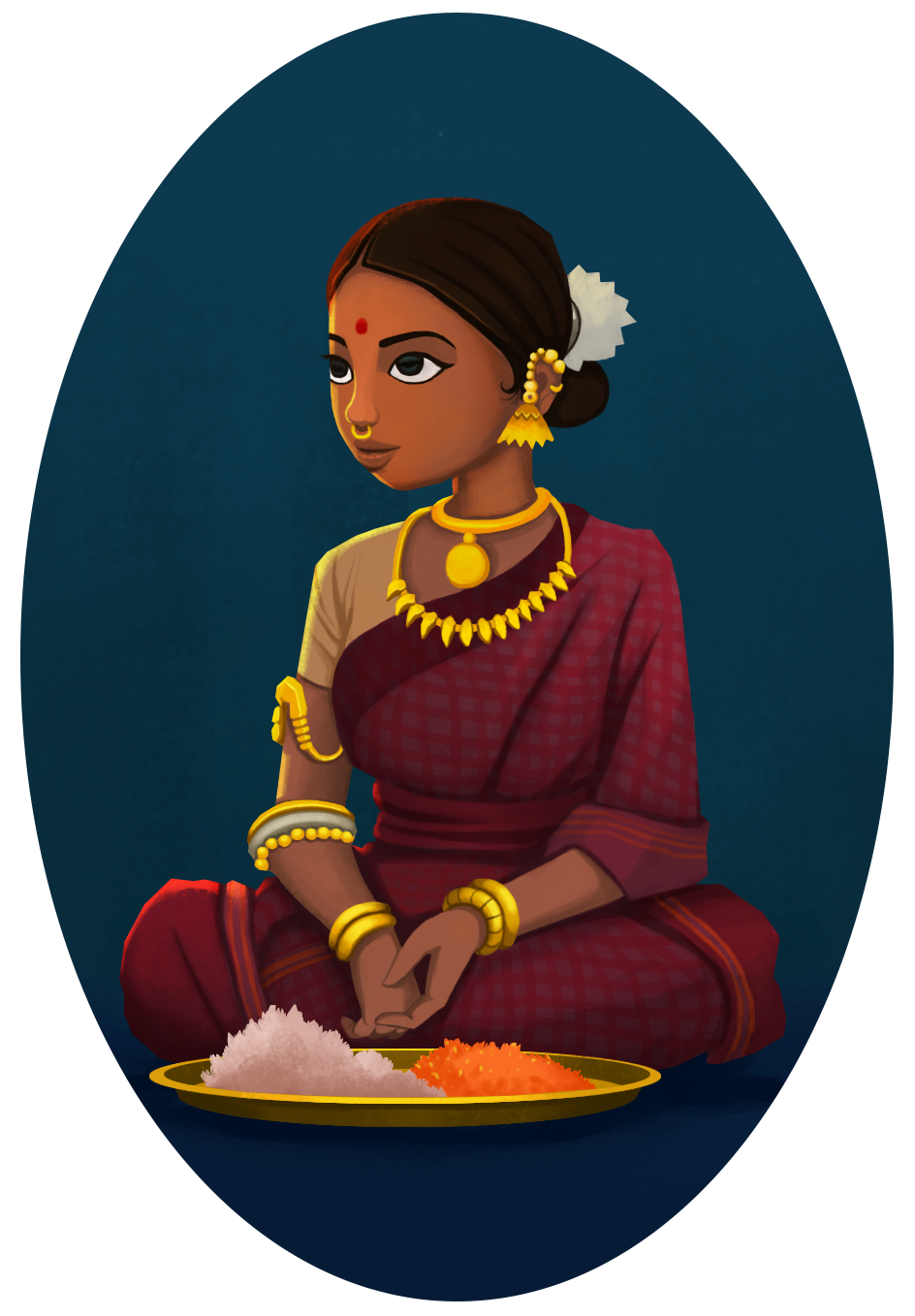 Indian girl selling flowers. Character Design India art