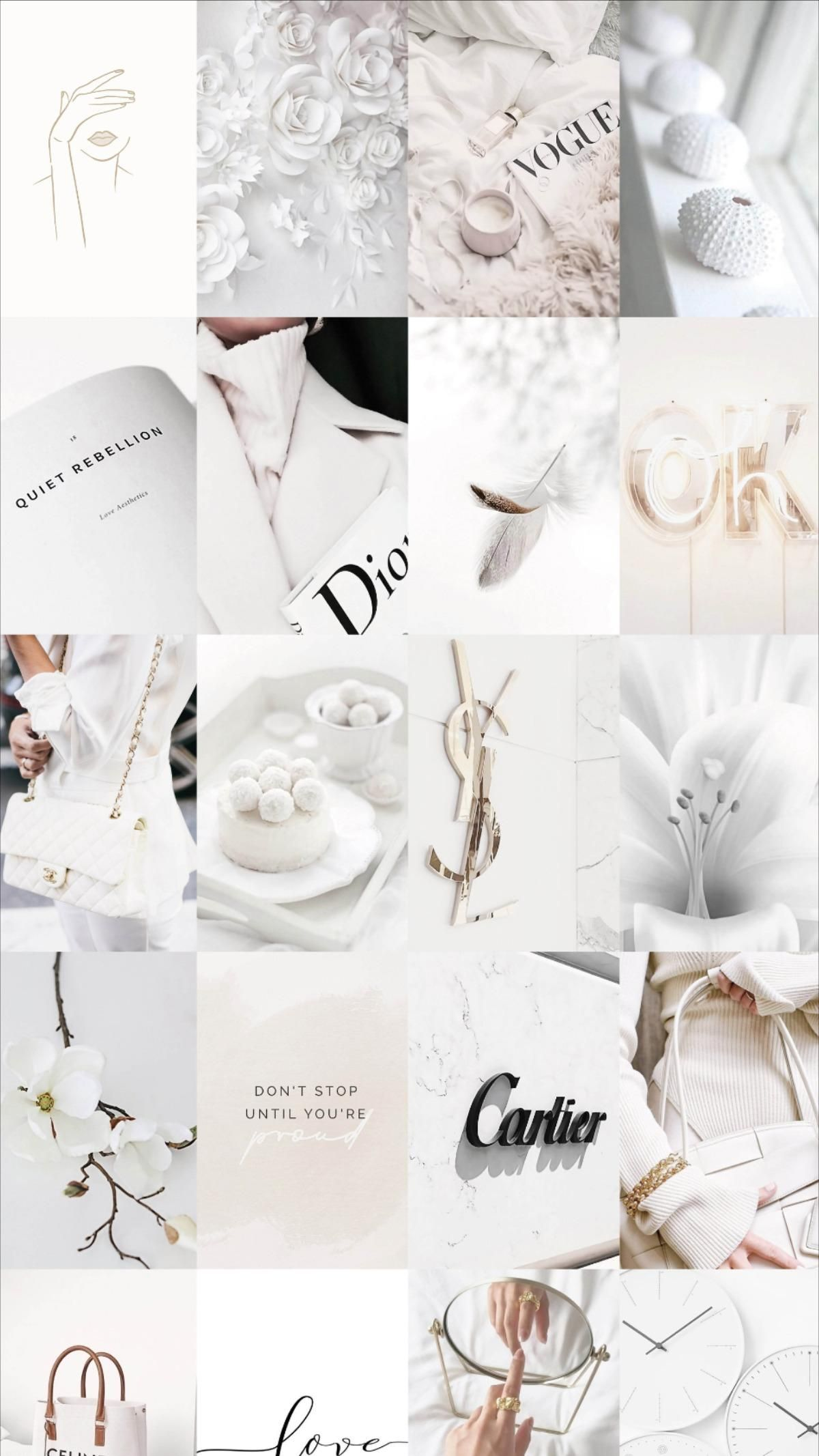 White Aesthetic Room Decor - Minimalist Positive Vibes Photo Wall Collage it
