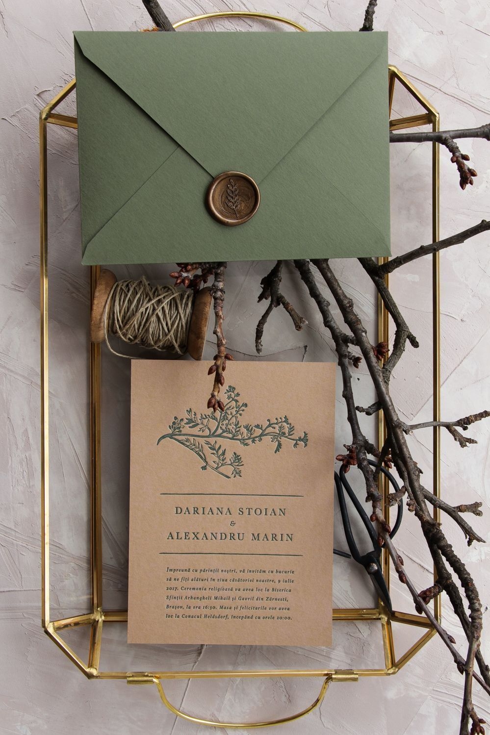 Greenery letterpress wedding invitations handmade envelopes with