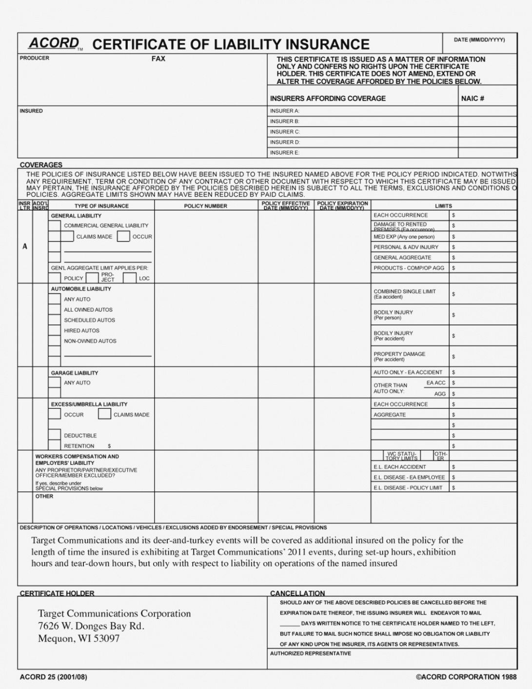 Certificate Of Liability Insurance Template in Acord ...